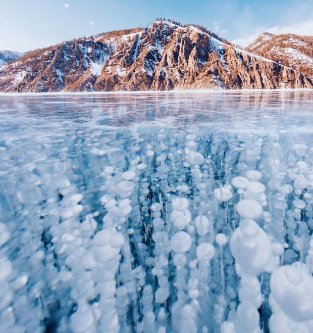 A világ érdekes Bajkál-tó jég