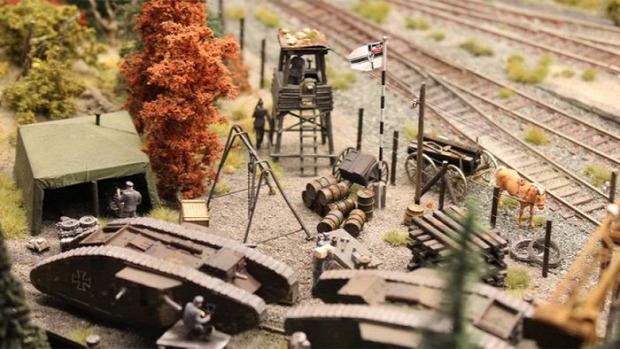 Kütyülógia dioráma világháború első német vasútállomás