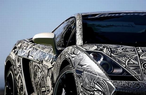 A világ érdekes Lamborghini festés dizájn tetoválás rendőr