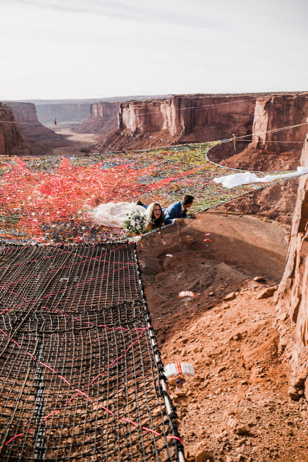 A világ érdekes esküvő kanyon háló slickline