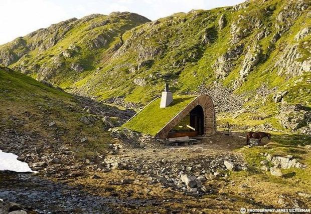 A világ érdekes Norvégia modern kunyhó