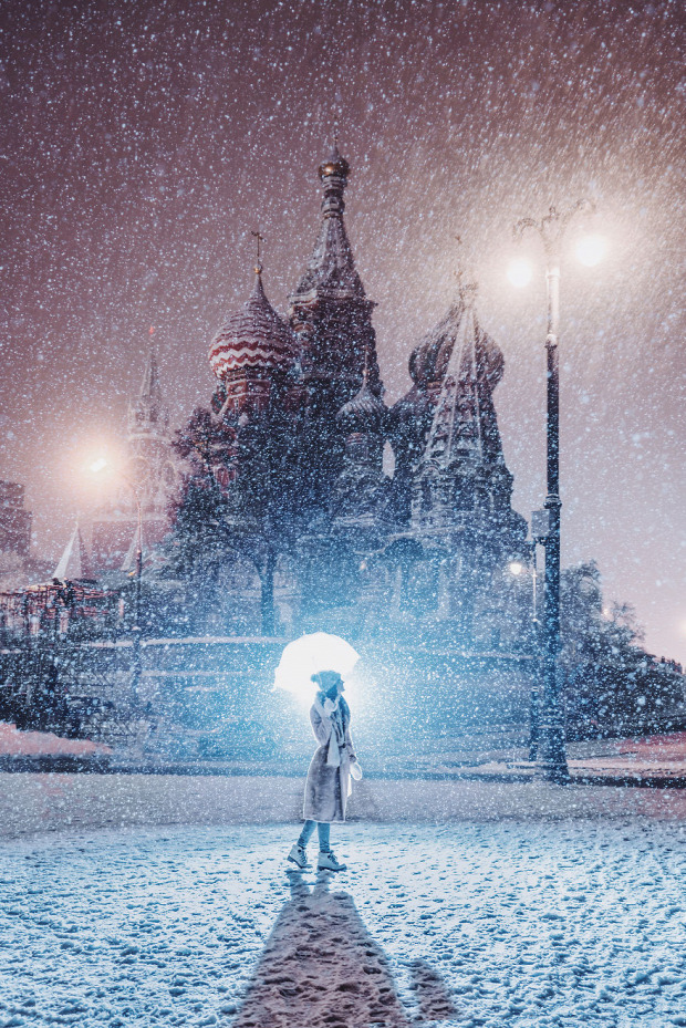A világ érdekes hó hóesés  jég Moszkva Oroszország