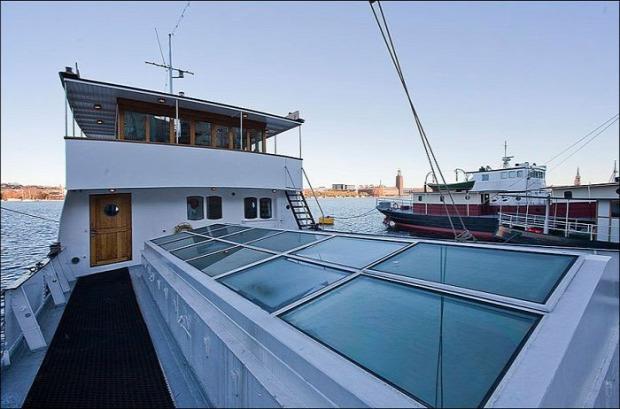 úszó ház hajó uszály Stockholm