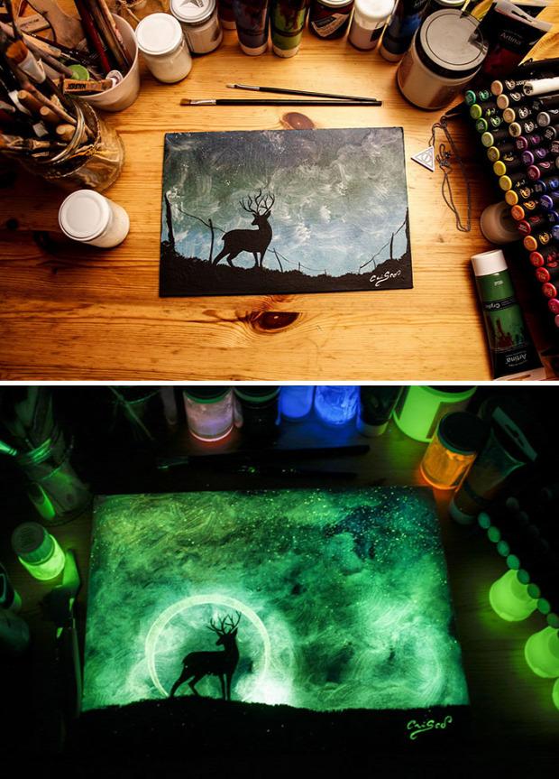 A világ érdekes festmény sötét fény foszforeszkál
