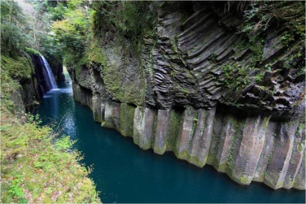 Japán kanyon vulkanikus bazalt