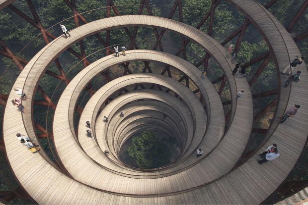 A világ érdekes Dánia erdő kilátó spirál