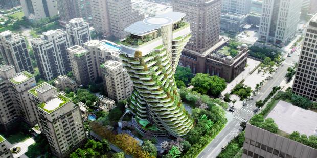 város toronyház zöld eco