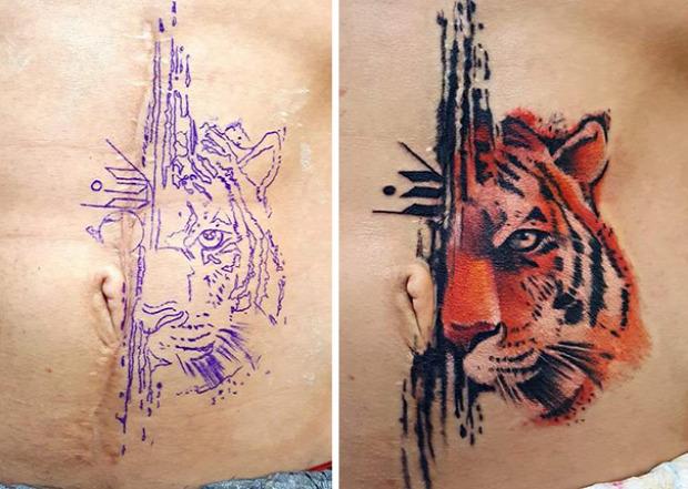 A világ érdekes seb  varrat tetoválás tetkó