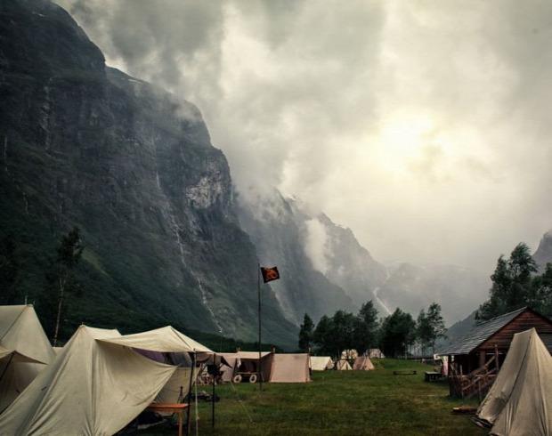 Norvégia Gudvangen viking piac