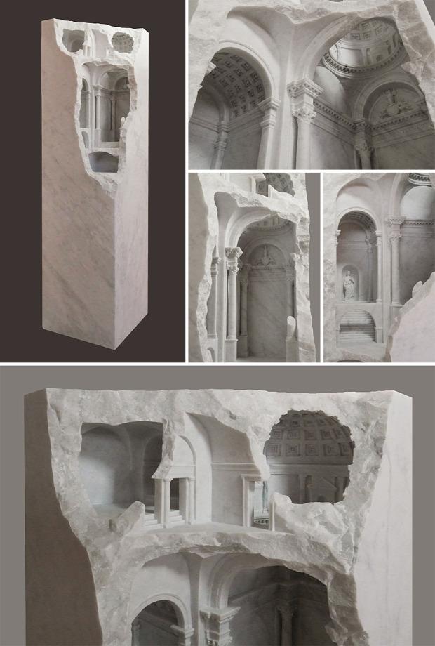 szobor  szikla épület rom