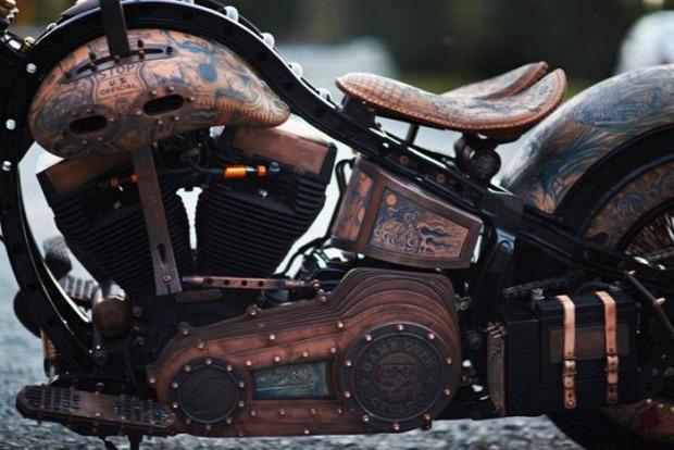 Kütyülógia motor chopper tetoválás dizájn lengyelű