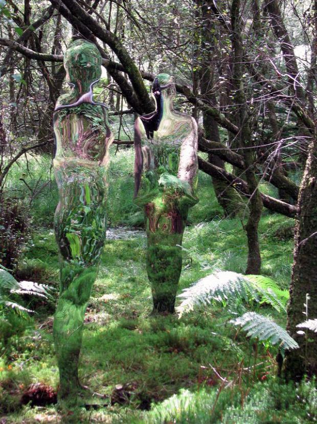 A világ érdekes szellem álcázó Predator Rub Mulholland skócia szobor tükör