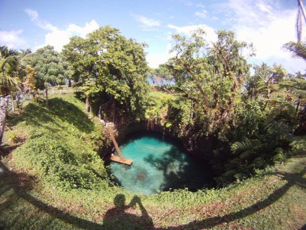 A világ érdekes Sua árok Szamoa Upolu  sziget úszás