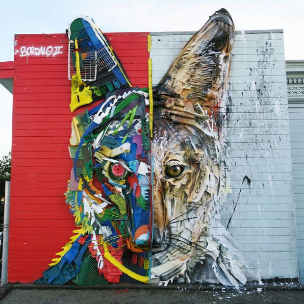 A világ érdekes Arthur Bordalo  utcai művész állat szemét