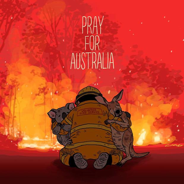ausztrália tűz bozóttűz művész