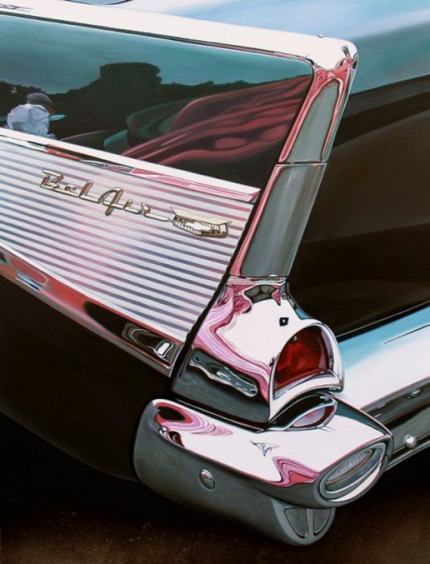 A világ érdekes festmény autó hiperrealisztikus Cheryl Kelley