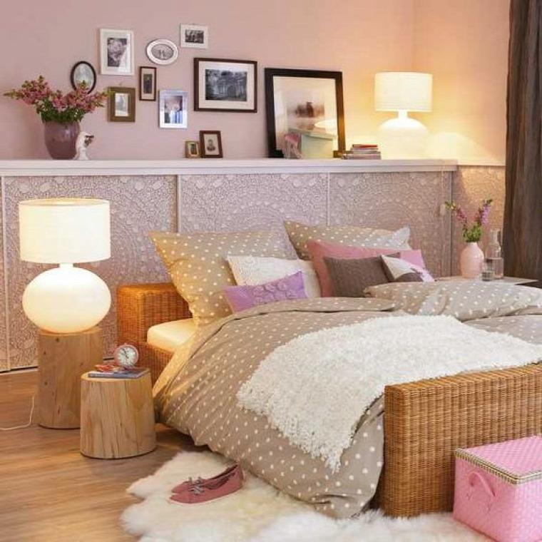 shabby chic romantikus stílus pink pasztell rózsaszín virtuális paletta színes falak hálószoba