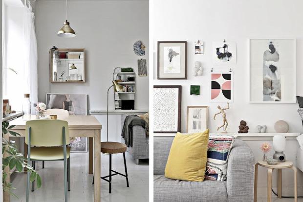 kis lakás kis terek egy légtér garzon skandináv stílus pasztell színek fókuszpont