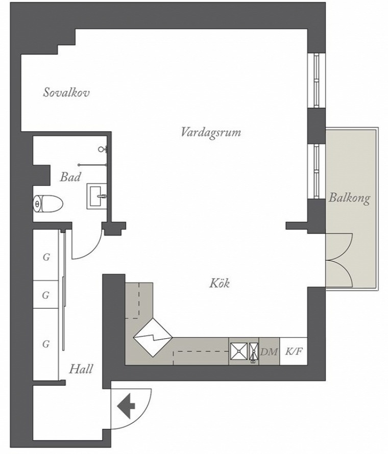 kis lakás garzon fehér falak fa skandináv stílus egyszerűség