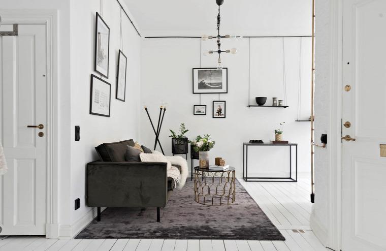 egyedi elrendezés kreatív kialakítás fehér padló fehér konyha skandináv stílus