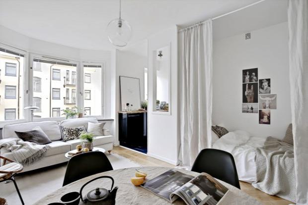 kis lakás garzon skandináv stílus otthonos natúr színek praktikus kialakítás