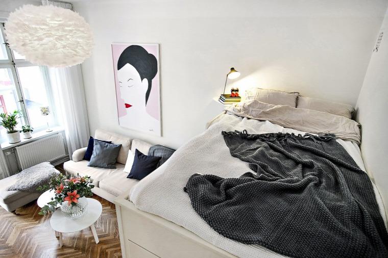 kis lakás kis terek garzon hálósarok szekrény ágy skandináv stílus nagyvilág helykihasználás