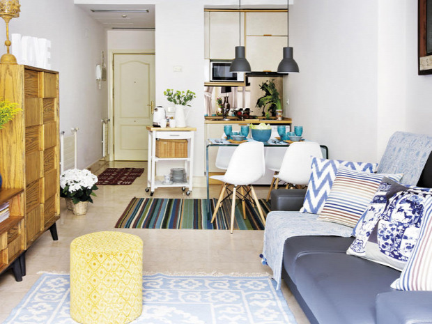 kis lakás kis terek garzon nagyvilág mediterrán hatás színek