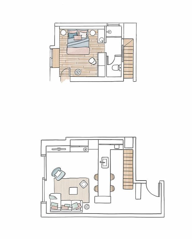 kis lakás kis terek kétszintes helykihasználás