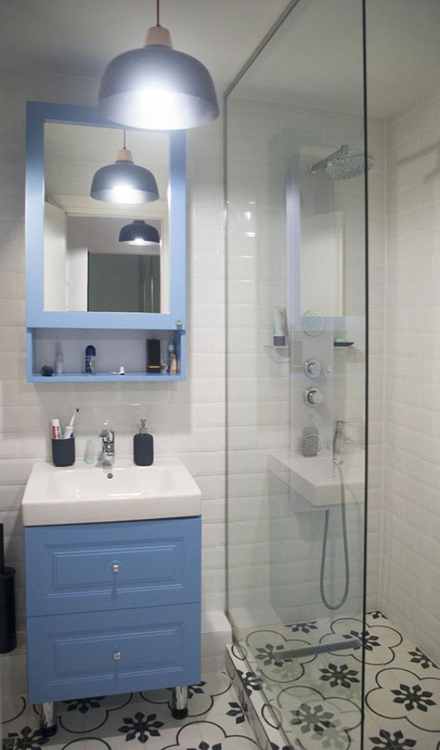 kis lakás garzon skandináv stílus legénylakás pasztell színek