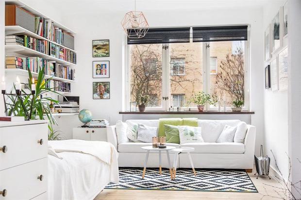 kis lakás garzon skandináv stílus színes otthonos