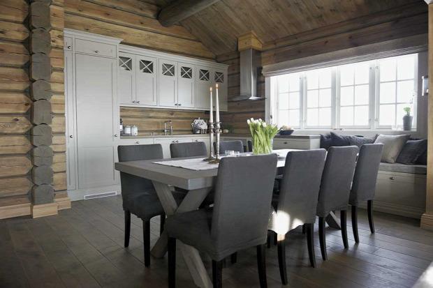 skandináv stílus fa burkolat menedék ház rusztikus