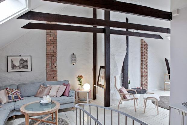belső kétszintes tetőtér inspiráció hangulatos pasztell színek