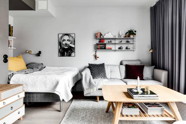 kis lakás kis terek legénylakás skandináv stílus maszkulin