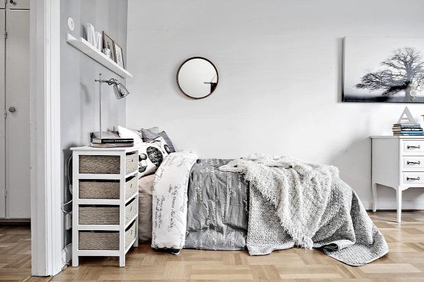 kis lakás kis terek egy légtér skandináv stílus csíkos fal