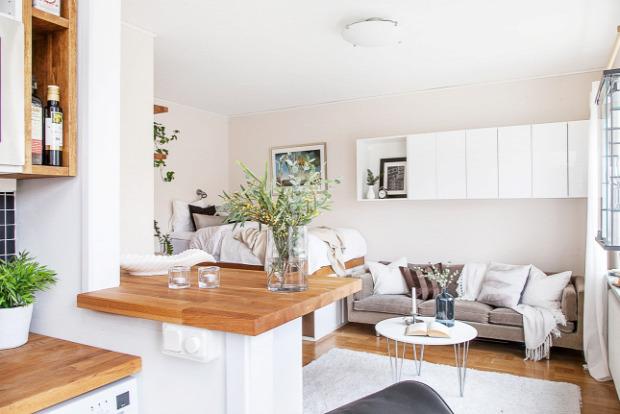 kis lakás garzon kis terek praktikus tárolás kreatív megoldás inspiráció skandináv stílus