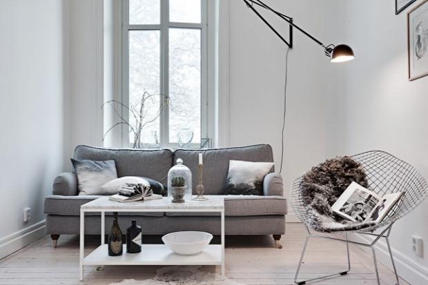 kis lakás garzon skandináv stílus hálófülke szürke praktikus kialakítás helykihasználás