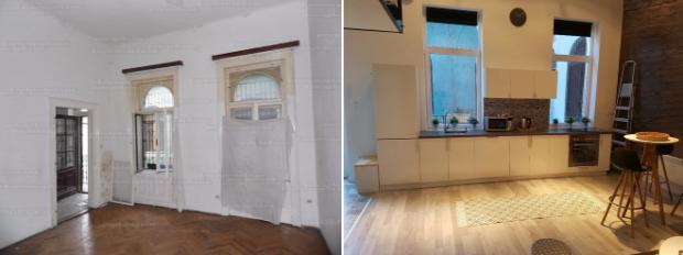 átalakítás olvasói átalakítás felújítás előtte utána budapest garzon helykihasználás galéria