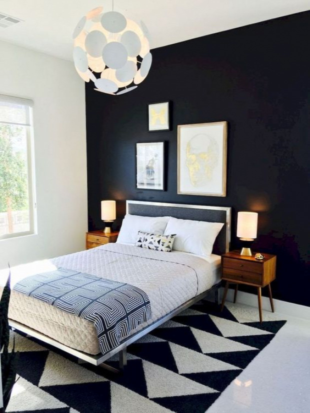 feketefehér hálószoba minimalista