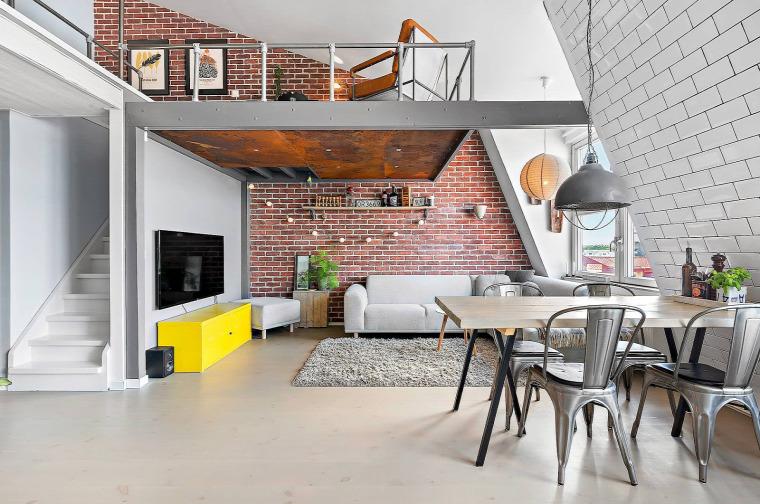 tetőtér két szintes térkihasználás nagy terek egy légtér természetes fény ipari stílus téglafal modern skandináv stílus