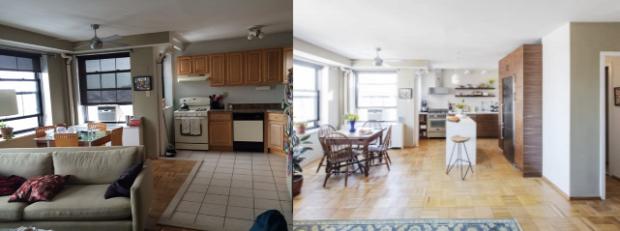 konyha felújítás előtte utána átalakítás fehér konyhasziget nagyvilág inspiráció
