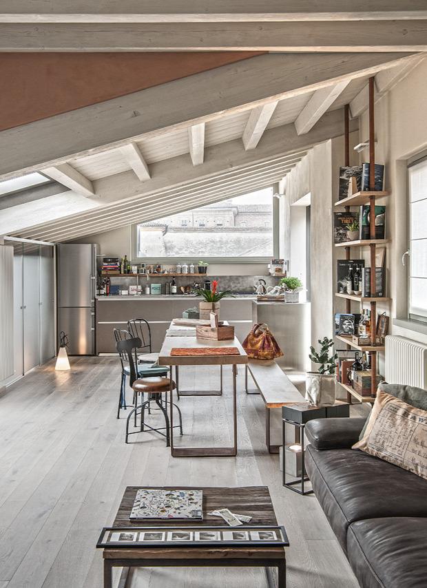 padlás tetőtér nagyvilág ipari stílus legénylakás minimalista dizájn fa