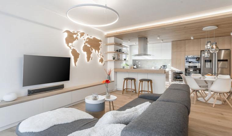 meleg hatás fa burkolat  otthonos modern