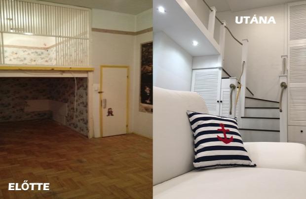 garzon nautica kis lakás olvasói átalakítás előtte utána felújítás hálógaléria galéria modern praktikus kialakítás helykihasználás