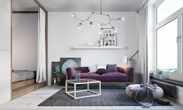 garzon nagyvilág kis lakás kis terek helykihasználás skandináv stílus 3d látványterv belső építészet