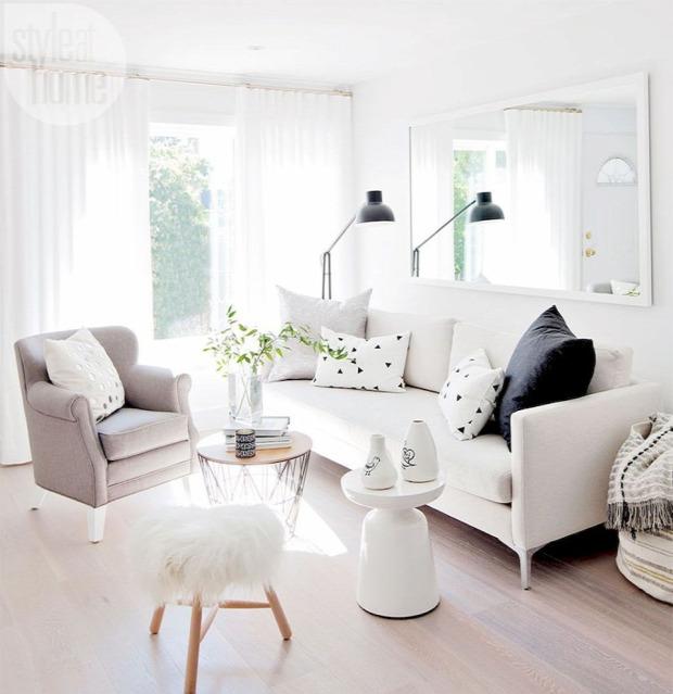 skandináv stílus lakberendezés nappali inspiráció