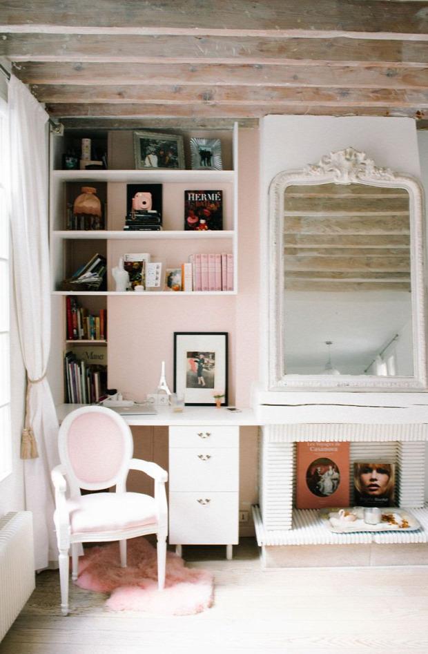 garzon nagyvilág shabby chic csajos kis lakás praktikus kialakítás pasztell színek rózsaszín falak