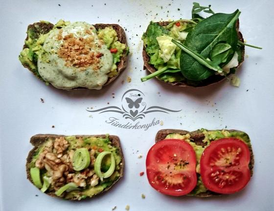 avokádó gluténmentes guacamole bruschetta dió mogyoró paradicsom laktózmentes vegán egészséges fitt