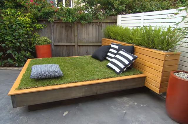 kert ágy fűágy pihenő sarok kertépítés garden
