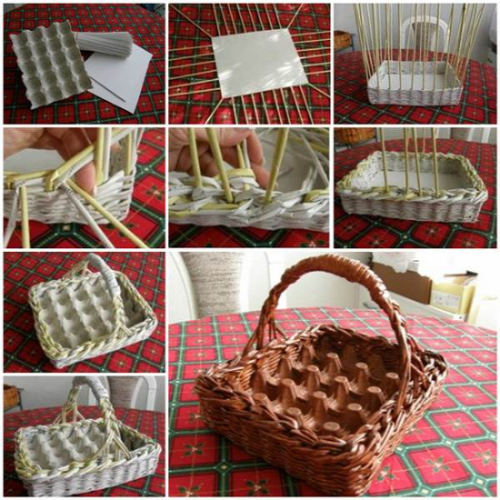DIY Woven Paper Easter Egg Basket and Tray