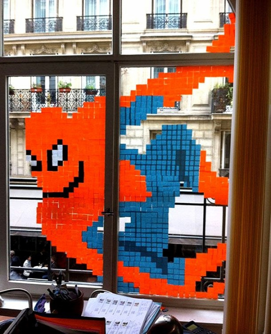 Window art with Post Its